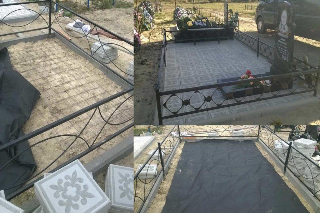 обустройство могил тротуарной плиткой, благоустройство могил в Бобруйске